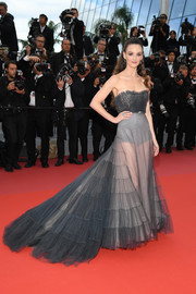 Charlotte Le Bon was sexy-glam in a sheer, strapless gray gown by Dior Couture at the Cannes Film Festival screening of 'BlacKkKlansman.'