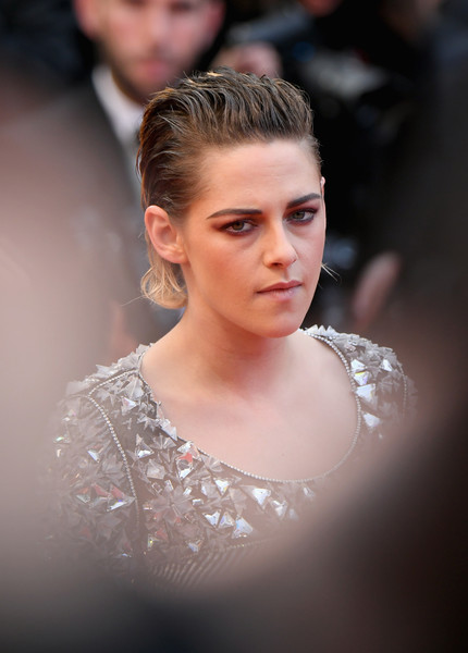 Kristen Stewart sported a wet-look fauxhawk at the Cannes Film Festival screening of 'BlacKkKlansman.'