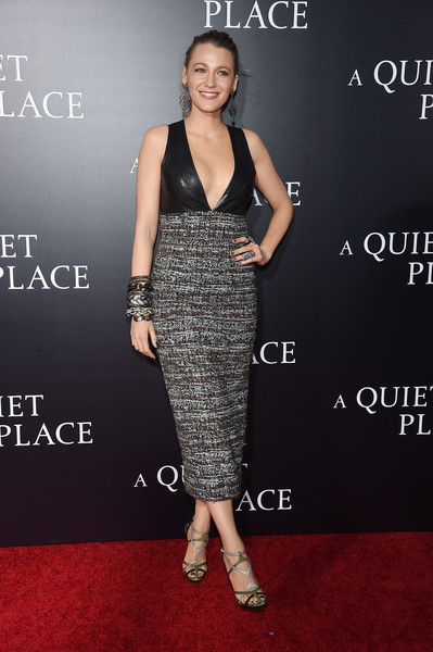 Blake Lively Midi Dress [a quiet place,clothing,dress,carpet,premiere,fashion,cocktail dress,red carpet,fashion model,shoulder,flooring,blake lively,new york city,amc lincoln square theater,premiere,new york premiere]