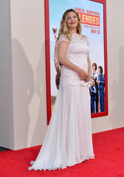 Drew Barrymore kept it demure in an embroidered white gown by Tadashi Shoji during the premiere of 'Blended.'
