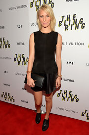 Mickey Sumner wore an edgy version of the LBD when she sported this black suede dress with a leather skirt.