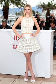 Clair Julien's laser-cut sleeveless top looked totally chic and romantic at 'The Bling Ring' premiere at Cannes.