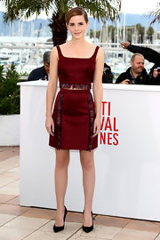 Emma Watson's cranberry feathered crop top and matching skirt looked totally chic on the young actress.