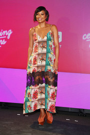 Gabrielle Union looked vibrant in a lace-panel floral dress by Stella McCartney at the #BlogHer18 Creators Summit.