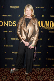 Martha Stewart looked hip in a gold leather jacket at the Blonds x Moulin Rouge! The Musical show.