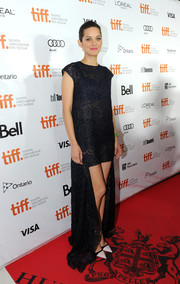Marion Cotillard chose a black lace fishtail dress by Christian Dior for her 'Blood Ties' premiere red carpet look.
