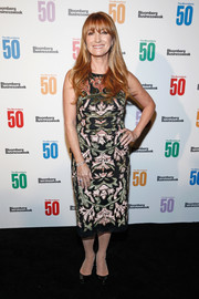 Jane Seymour attended the Bloomberg 50 celebration wearing an appliqued cocktail dress.