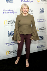 A pair of tan suede sandals pulled Martha Stewart's look together.