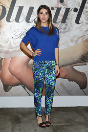 Martina Pinto showed off her flair for color with blue and green leopard print pants and matching blue sweater at the Blugirl runway show.
