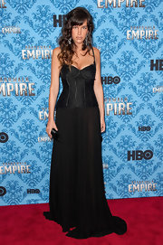 Paz de la Huerta heated up the red carpet in a sultry black corset dress at the 'Boardwalk Empire' season 2 premiere.