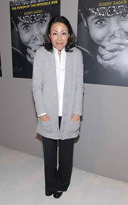 Ann Curry's oversize gray cardigan was a comfy finish to her ensemble during Bobby Sager's book launch party.