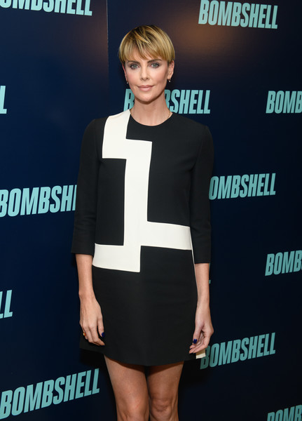 More Pics of Charlize Theron Bowl Cut (1 of 9) - Bowl Cut Lookbook - StyleBistro [bombshell,clothing,carpet,dress,cocktail dress,fashion,premiere,shoulder,footwear,little black dress,joint,charlize theron,new york,screening,new york screening]