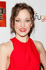 Laura Osnes wore her hair in a cute bobby pinned updo with sweet face-framing spiral curls at the opening night of 'Bonnie & Cylde' on Broadway.