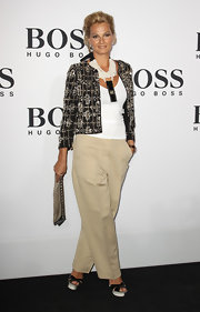 Franziska van Almsick contrasted her casual chinos and white tee with this exquisite embellished jacket.