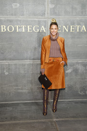 Helena Bordon polished off her look with a pair of over-the-knee brocade boots.