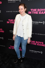 Lena Dunham smartened her outfit with a white tweed jacket.