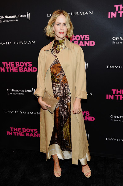 Sarah Paulson layered a beige coat over a print dress for the 'Boys in the Band' 50th anniversary celebration.