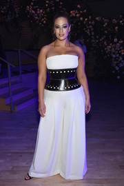 Ashley Graham turned heads in a strapless, wide-leg jumpsuit by Brandon Maxwell during the brand's Fall 2018 show.