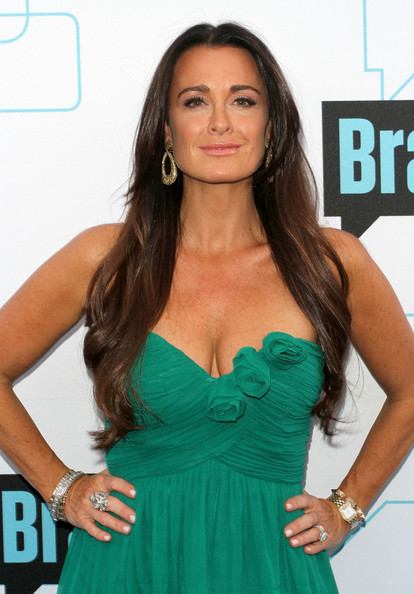 More Pics of Kyle Richards Gold Dangle Earrings (1 of 12) - Kyle Richards Lookbook - StyleBistro [hair,clothing,dress,cocktail dress,hairstyle,long hair,turquoise,brown hair,strapless dress,shoulder,kyle richards,presentation,los angeles,california,bravo media,upfront presentation]