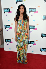 Padma Laksmi chose a multi colored print dress for her bold and beautiful red carpet look at the Bravo Media event in Hollywood.