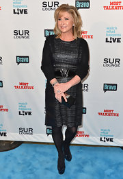 Kathy Hilton's LBD and black patent leather platform pumps were a perfect combination.