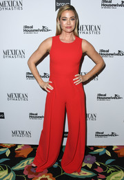 Denise Richards chose a red wide-leg jumpsuit by Alice + Olivia for the 'Real Housewives of Beverly Hills' premiere party.