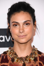 Morena Baccarin sported a mildly messy updo at the 'Project Runway' New York premiere.