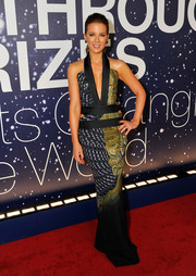 Kate Beckinsale brought tons of sultry appeal to the Breakthrough Prize Awards with this Etro halter gown featuring mixed prints, a plunging neckline, and side cutouts.
