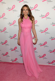 Elizabeth Hurley was a goddess in a Versace halter gown during the Hot Pink Party.