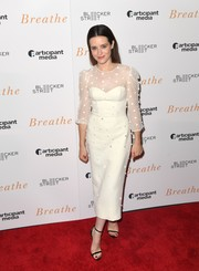 Claire Foy chose a pair of black Jimmy Choo Minny sandals to finish off her look.