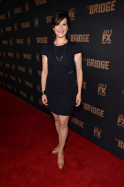 Franka Potente was low-key in a short-sleeve LBD with sheer side panels at the premiere of 'The Bridge.'