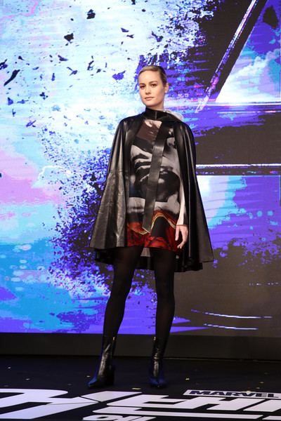 Brie Larson Print Dress [avengers: endgame south korea premiere - press conference,fashion,fashion design,fashion show,outerwear,fashion model,haute couture,runway,fictional character,illustration,brie larson,avengers,fashion,runway,model,seoul,marvel studios,press conference,premiere,brie larson,avengers: endgame,avengers endgame premiere,the avengers,seoul,runway,monday april 15,model,marvel cinematic universe]
