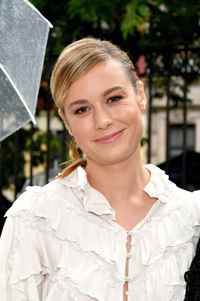 Brie Larson Ponytail [shows,the shows,hair,white,blond,hairstyle,beauty,eyebrow,lip,lady,fashion,smile,brie larson,rodarte - front row,new york city,new york fashion week]