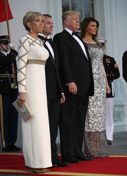 Brigitte Macron Beaded Dress [trump and first lady hosts state dinner,red carpet,carpet,event,formal wear,suit,flooring,dress,ceremony,tuxedo,macron,donald trump,president,melania trump,brigitte,white,state diner,french,u.s.]