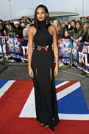 Alesha Dixon chose a dramatic black halter dress with double slits for 'Britain's Got Talent's' first day of auditions.