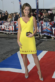 Amanda Holden carried a tiny colorful clutch to auditions in Cardiff.