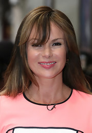 Amanda Holden wore her hair down with wind-swept bangs at auditions for 'Britain's Got Talent.'