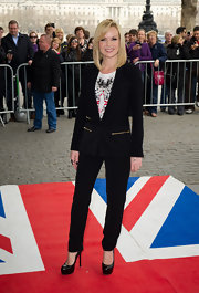 Amanda Holden stood tall in black platform pumps by Yves Saint Laurent at the 'Britain's Got Talent' press launch.