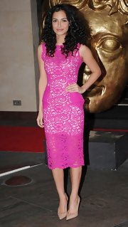 A hot pink lace dress was a fun and flirty choice for Anna Shaffer at the British Academy Games Awards.