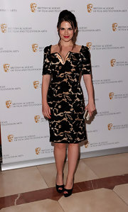 Hayley Atwell showed off her printed dress while walking the red carpet at the British Academy Awards.
