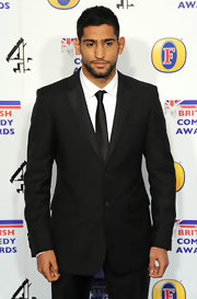 A slim black tie pulled Amir Khan's awards ceremony look together perfectly.
