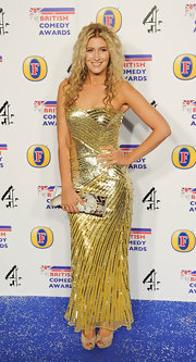 Francesca Hull sparkled at the 2011 British Comedy Awards in this super-sexy sequined gold dress.
