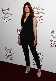 We loved the simplicity of Gemma's blouse and pant set at the British Fashion Awards.
