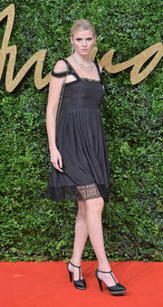 Lara Stone was boudoir-chic in a lace-trimmed LBD at the British Fashion Awards.