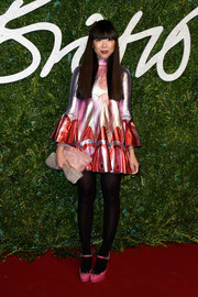 Susanna Lau looked funky in a metallic mini dress at the British Fashion Awards.