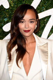 Ashley Madekwe polished off her look with chunky diamond studs.