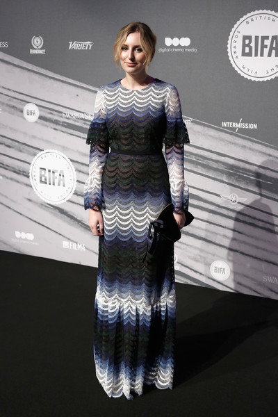 Laura Carmichael kept it modest yet lovely in a multicolored lace gown by Erdem at the British Independent Film Awards.
