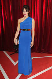 Paula Lane looked breathtakingly sophisticated in a cobalt one-shoulder gown at the British Soap Awards.