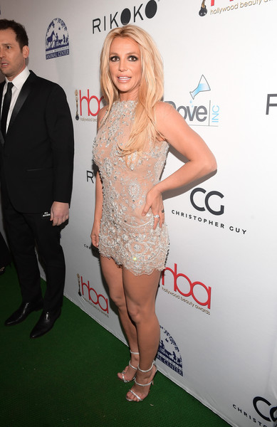 Britney Spears Strappy Sandals [clothing,cocktail dress,dress,hairstyle,leg,fashion,joint,thigh,long hair,premiere,arrivals,britney spears,avalon hollywood,los angeles,california,4th hollywood beauty awards]