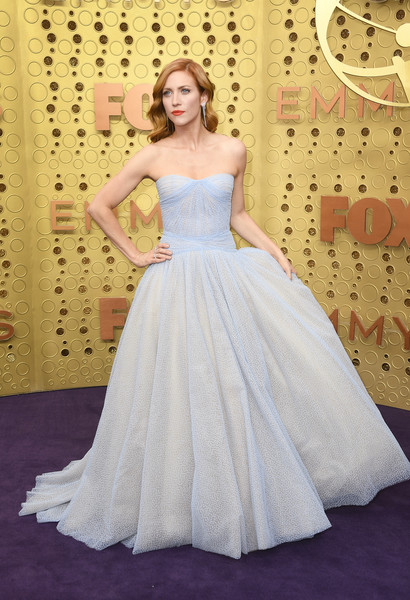 Brittany Snow Strapless Dress [gown,dress,wedding dress,clothing,bridal party dress,bridal clothing,shoulder,bride,fashion model,lady,arrivals,brittany snow,emmy awards,microsoft theater,los angeles,california]